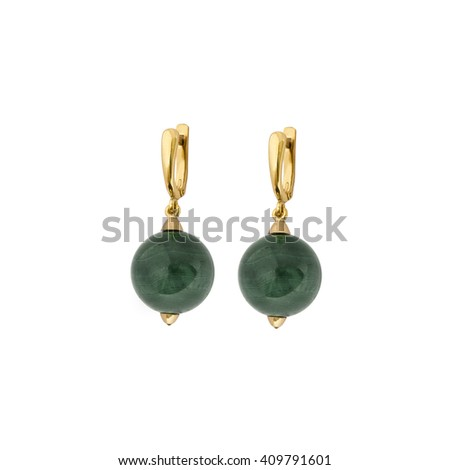 Female golden earrings with colorful gems
