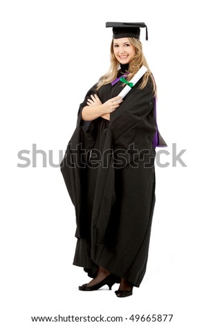 Female graduate holding her diploma and smiling isolated over a white background