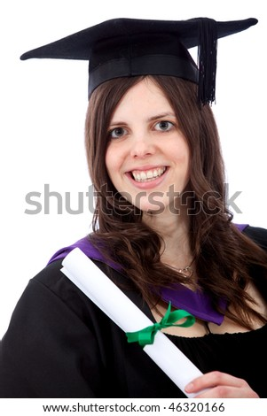 Female graduate portrait smiling and showing her diploma