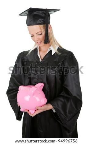 Female graduate student holding money - stock photo