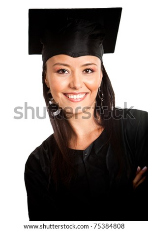 Female graduate wearing a gown and mortarboard - isolated over white - stock photo