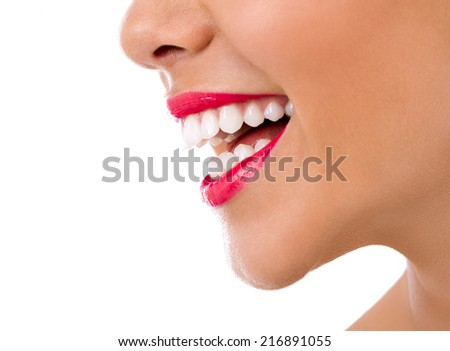 female great smile with healthy teeth - stock photo