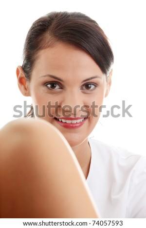 Female gynecologist doctor, isolated on white background - stock photo