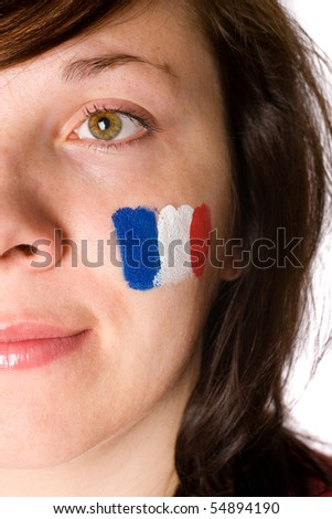 female half face portrait, french flag on her cheek