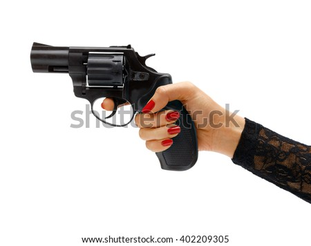 Female hand aiming revolver gun / studio photography of woman's hand holding handgun - isolated on white background. Business concept - stock photo