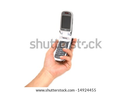 Female hand and cell phone