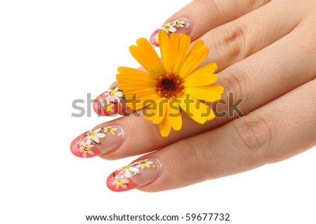 Female hand and flower. Nails with figure of a camomile - stock photo