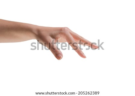 Female hand being held out on white background