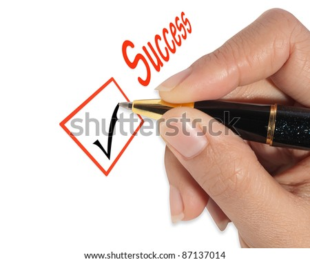 female hand checking success list - stock photo