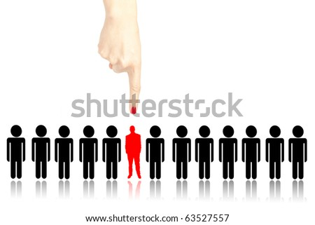 Female hand choosing the right person from a group - stock photo
