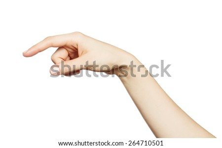 Female hand clicking, touching virtual screen isolated on white background. - stock photo