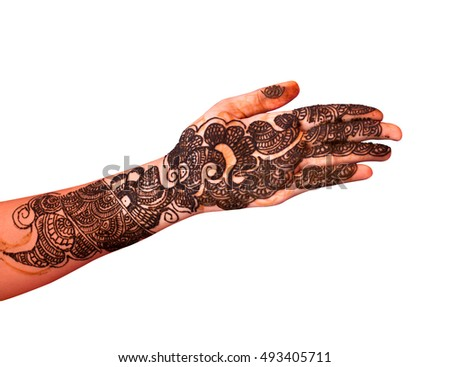 Female hand covered with traditional Indian mehendi also know as mehndi, henna tattoo isolated on white background