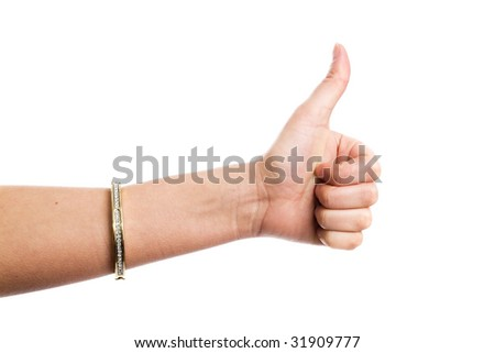"Female hand demonstrating ""All right""gesture on the white background"