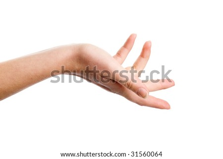 Female hand demonstrating interrogative gesture on the white background