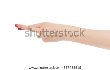 Female hand fingers crossed. Isolated on white background.