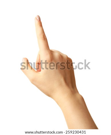Female hand gesture isolated on white - stock photo