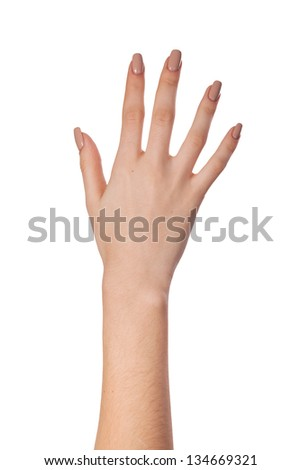 Female hand gesture number five closeup isolated on a white background - stock photo