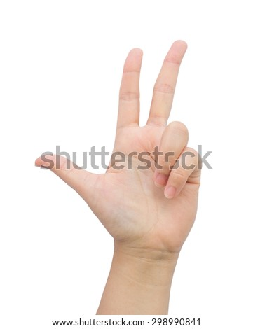 Female hand gesture three finger on isolated background. - stock photo