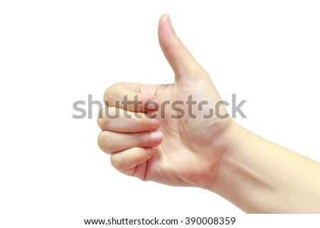 Female hand gesture thumb up isolated on white background