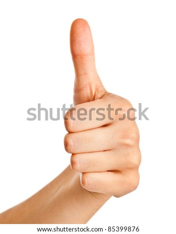 Female hand gesturing the ok sign isolated on white - stock photo