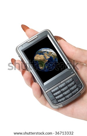 Female hand hold communicator with planet earth at screen. - stock photo