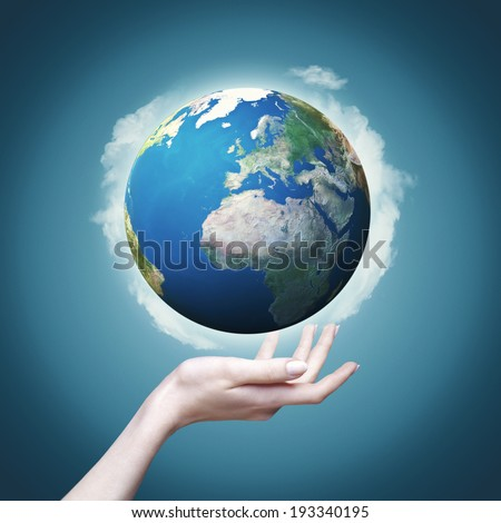 Female hand hold 3D rendered Earth globe. Environmental backgrounds, eco concept - stock photo