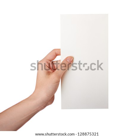 Female hand holding a blank business card  isolated.