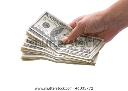 Female hand holding a lot of money. One hundred dollar bills. - stock photo