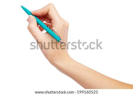 Female hand holding a pen, isolated on white background