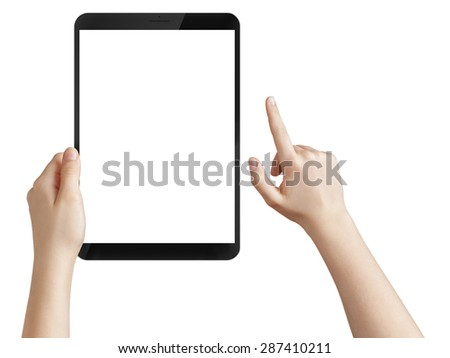 female hand holding a tablet pc with white screen, isolated - stock photo