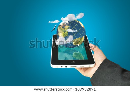 female hand holding a tablet touch computer gadget present earth globe and airplane as transportation concept. Elements of this image furnished by NASA. - stock photo