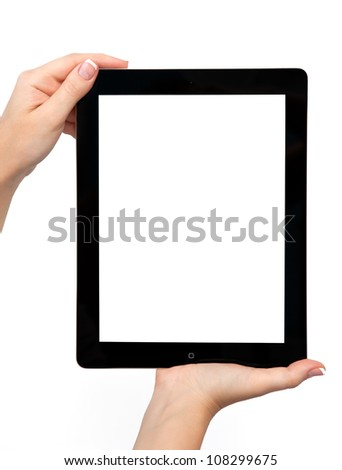 female hand holding a tablet touch computer gadget with isolated screen - stock photo