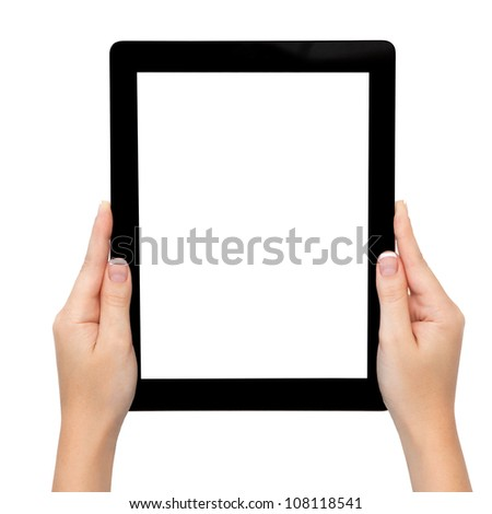 female hand holding a tablet touch pad computer gadget with isolated screen - stock photo