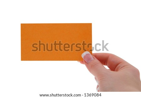 female hand holding blank business card, shallow DOF, focus is set on the thumb - stock photo