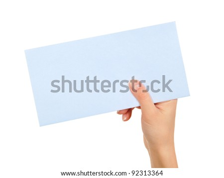 Female hand holding blue sheet paper card on white background