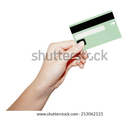 female hand holding credit card isolated on white  - stock photo