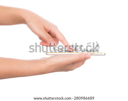 Female hand holding gold mobile phone smartphone  travel around the world (Japan,France,Italy ,New York,India,egypt,china,london,brazil) - stock photo