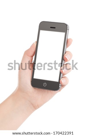 Female hand holding modern black mobile smart phone with blank screen isolated on white background. High quality.
