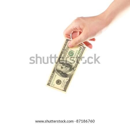 Female hand holding money dollars isolated on white - stock photo
