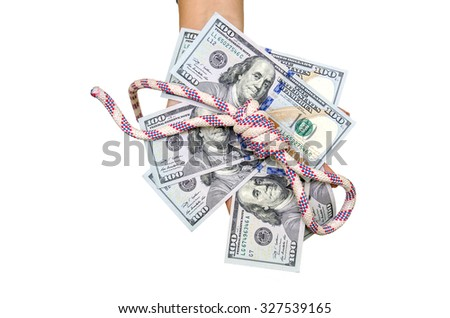 Female hand holding new 100 US dollars, isolated on white
