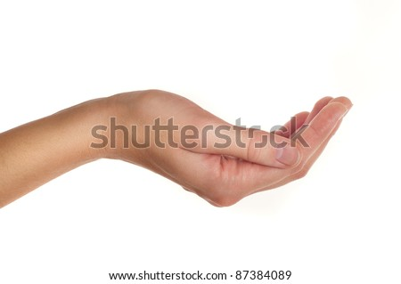 female hand holding or giving something isolated on white