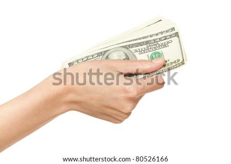 Female hand holding pack of money, isolated on white background - stock photo