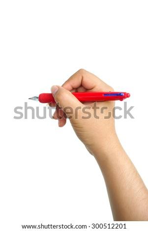 Female hand holding pen to white something isolated on white background - stock photo