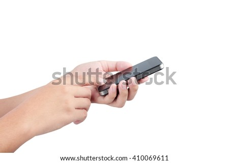 Female hand holding phone isolated with clipping path inside