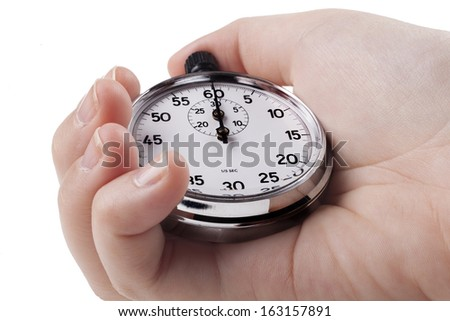 Female Hand holding silver color stopwatch isolated on white background