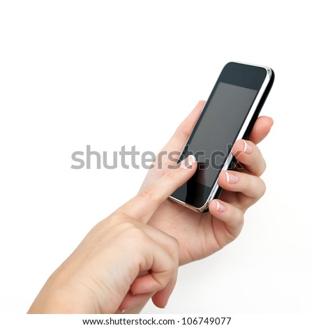 female hand holding the phone tablet touch computer gadget with a touchscreen