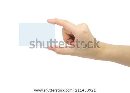 Female hand holdings a blank business card