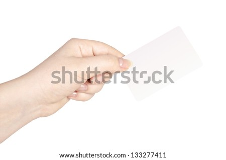 Female hand holds business card on white background.