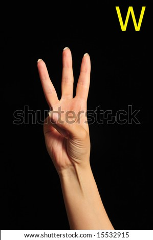 female hand in gesture for the letter W in the alphabet of signs