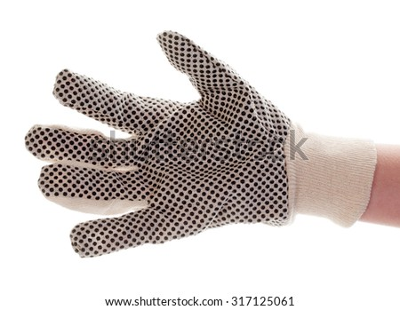 Female hand in the construction glove isolated on white background - stock photo
